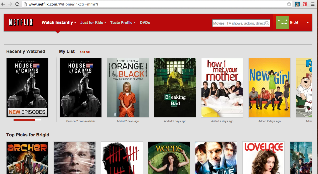 Netflix Home Page Screenshot